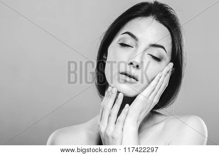 Beauty Woman Face Portrait. Beautiful Spa Model Girl.  Black And White