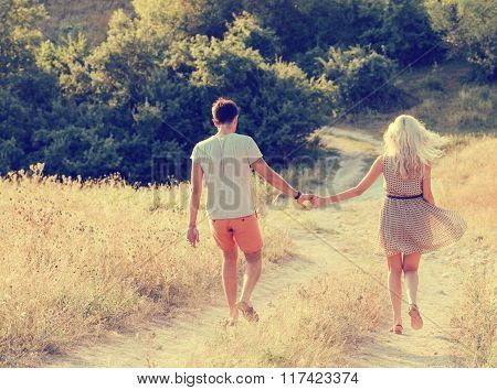 Couple In Love  In Summer Time Together Happy Outdoors