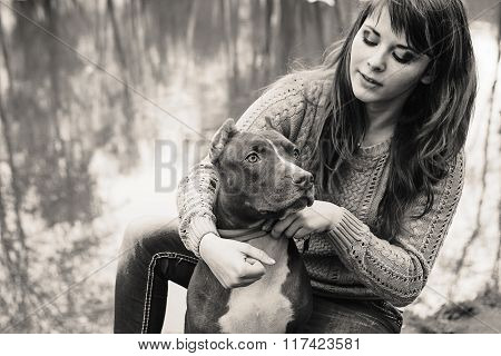 Woman With Dog Nature Playing Together