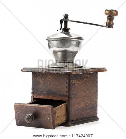 Old coffee grinder isolated on white background.