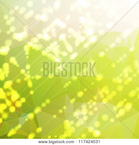 Vector background. Triangle pattern with rays and flares. Spring colors.