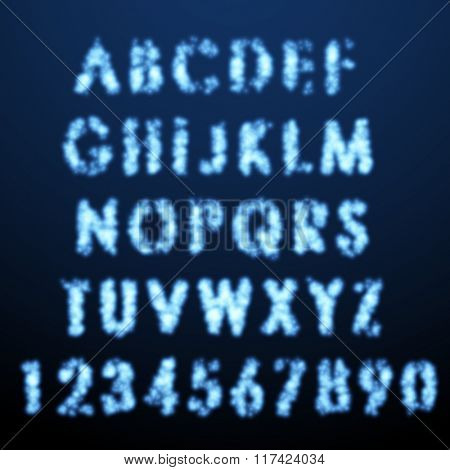 Vector alphabet set. Glowing eroded letters.