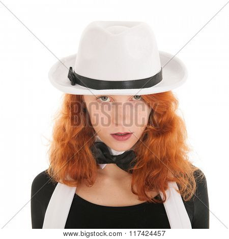 Woman as dandy with hat and other accessories isolated over white background