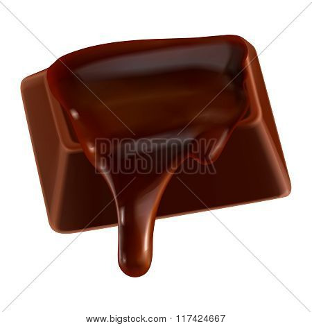 Vector 3D Realistic Melting Dark Chocolate Illustration