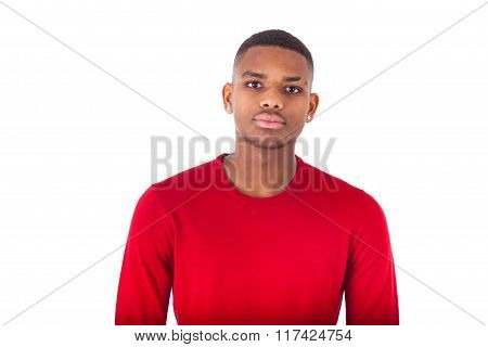Portrait Of A Young African American Man Isolated On White Background