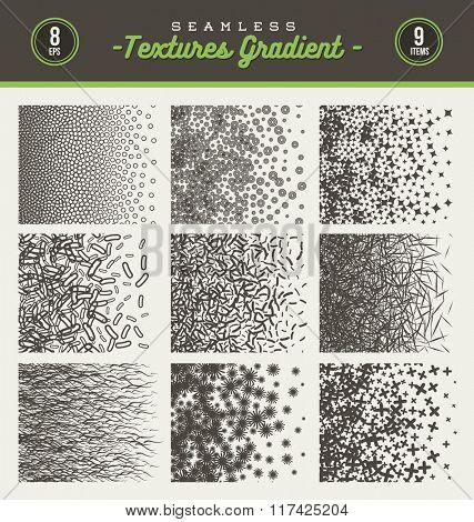Vector set of seamless textures gradient