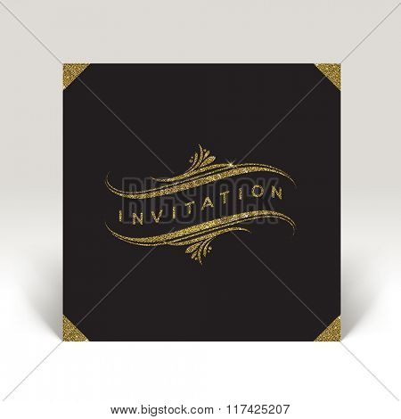 Vector template invitation with glitter gold flourishes elements