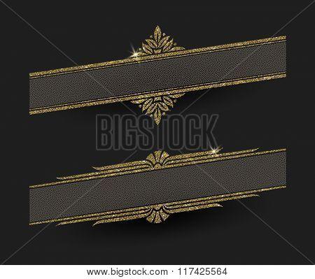 Glitter gold decorative frames - vector illustration