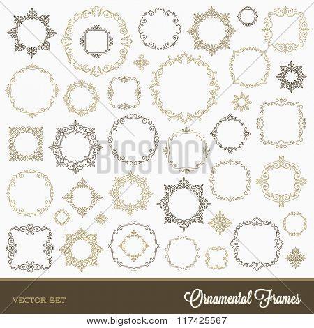Set of flourishes ornamental frames - vector illustration