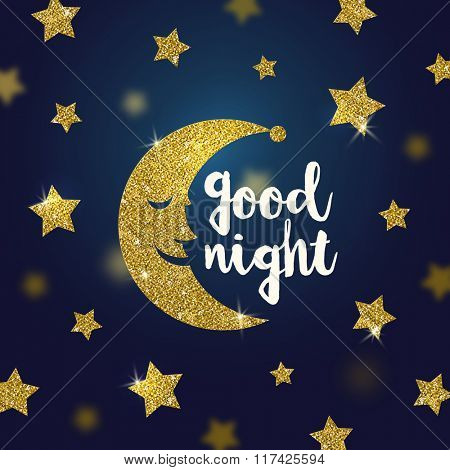 Good night wishes with glitter gold cartoon moon and stars - vector illustration