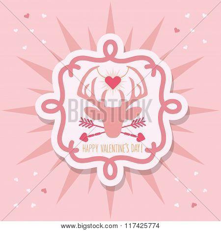 Cute pink Happy Valentine's Day deer emblem sticker and sunburst on pink background