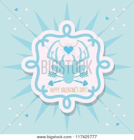 Cute blue Happy Valentine's Day deer emblem sticker and sunburst on blue background