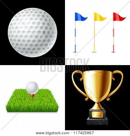 Golf icons set isolated vector illustration