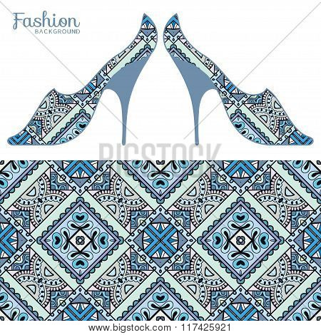 Vector fashion illustration, ladies shoes and seamless pattern