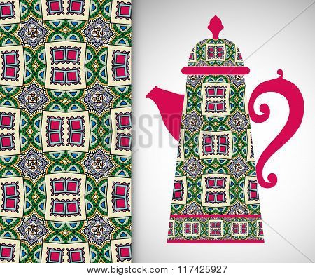 Teapot with decorative ornament and seamless pattern