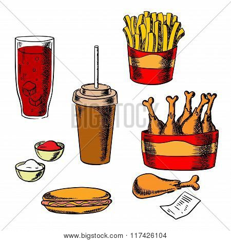 Fast food snacks and drinks set