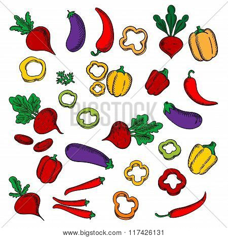 Beets, eggplants, chili and bell peppers