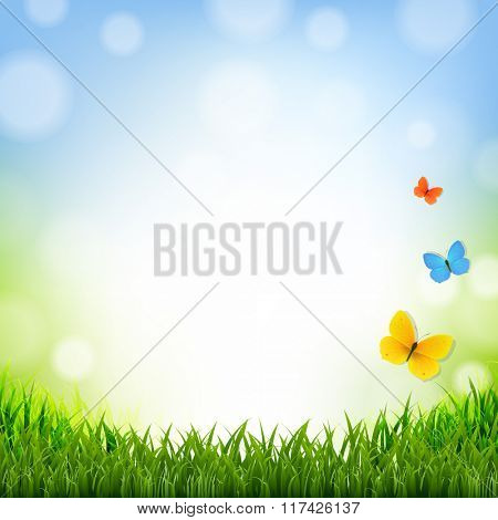 Easter Poster With Grass Border With Gradient Mesh, Vector Illustration