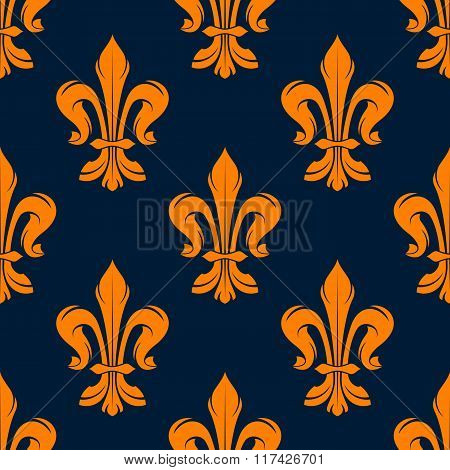 Orange and blue vintage floral pattern