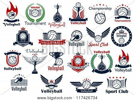 Volleyball sport game icons and symbols