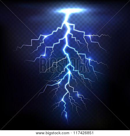 Lightning of blue on black background with transparency for design