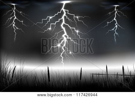 Lightning storm with on a dark background