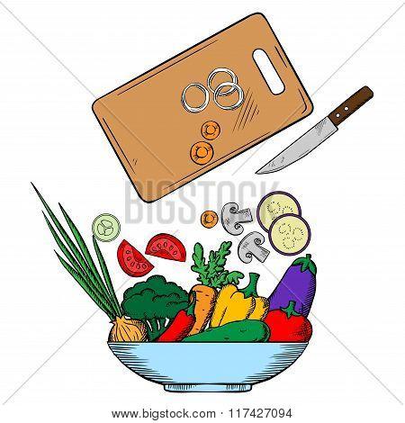 Vegetarian salad preparation process illustration