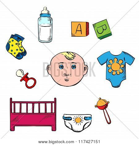 Little boy and childish toys icons