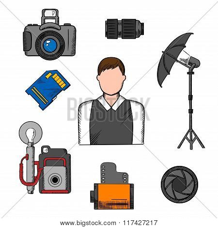 Photographer, equipment and items icons