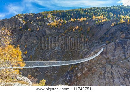 Suspension Bridge Between Reidalp And Belalp