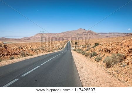 Endless Road In Sahara Desert With Blue Sky,morocco Africa