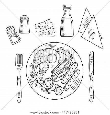 Sketch of tasty cooked dinner on a plate