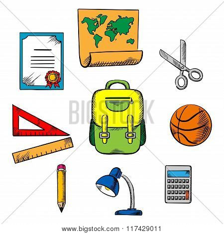 School and education objects icons