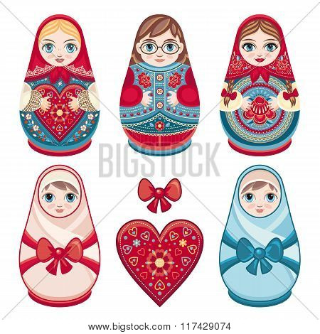 Color.epsMatryoshka. Russian folk nesting doll. Babushka doll. Set.
