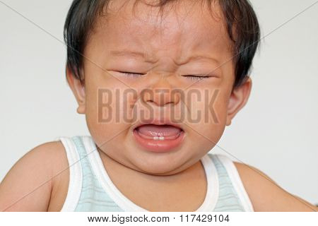 Crying Japanese baby boy (0 year old)