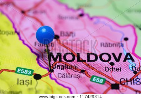 Ungheni pinned on a map of Moldova