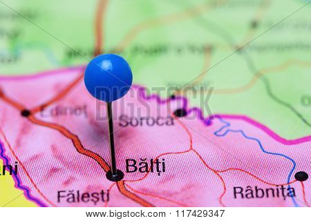 Balti pinned on a map of Moldova