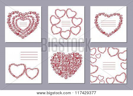 Romantic Collection With 6 Cards Doodle Hearts