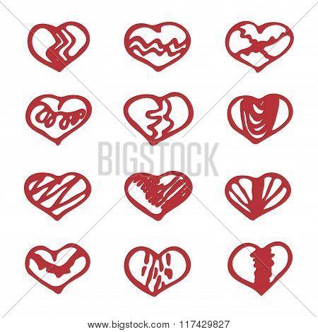 Love Set Unique Hand Drawn Icons Romantic