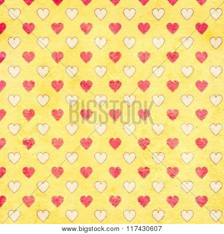 Grunge Valentine background with hearts and paper texture