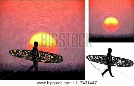 Surfing Design and Sunset Background