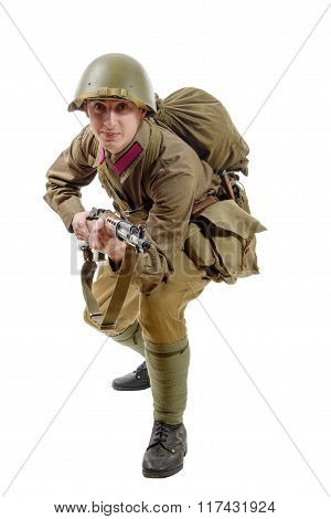 Young Soviet Soldier With  Rifle On The White Background
