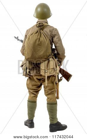 Young Soviet Soldier With Rifle, Back View, On The White Background