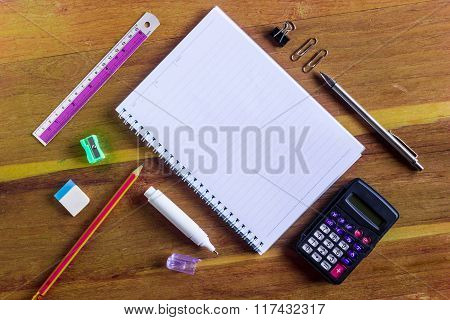 Office Stationery On The Table With Copy Space For Texts
