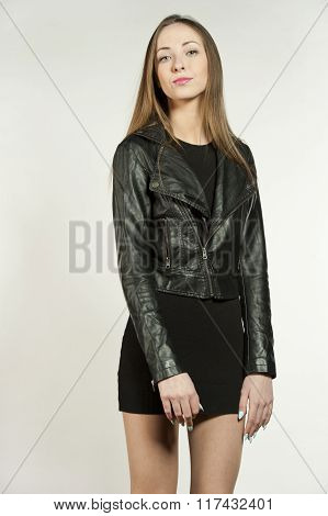 Young Girl in Leather Jacket