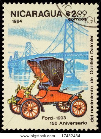 Old Car Of Ford (1903) On Postage Stamp
