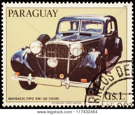 Old Car Maybach Sw-38 (1938) On Postage Stamp