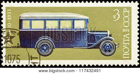 Old Russian Autobus Gaz-03-30 (1933) On Postage Stamp