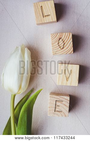 Love Made Of Wooden Blocks