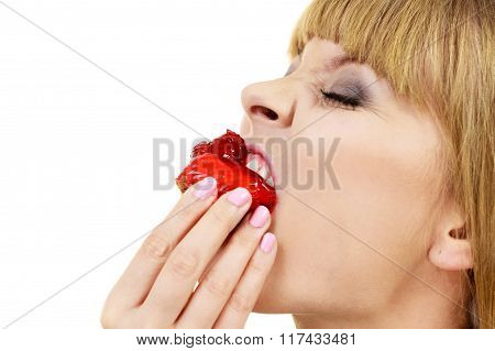 Woman Eating Cupcake Sweet Food